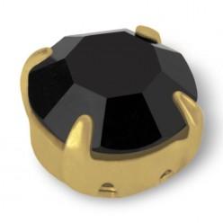 RHINESTONE ROUND SS40 black-gold-20pcs