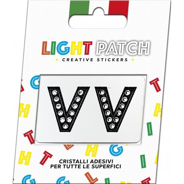 Light Patch Letters V V Sticker Black Crystals Cry sale online