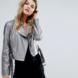 Women's eco-leather jacket in metallic gray sale online, best