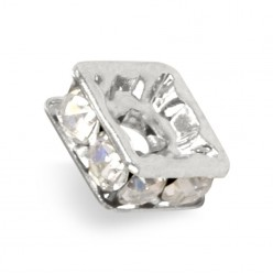 STRASS PRECIOSA LAVEUSE CARRÉE MM6x6 CRYSTAL-SILVER-PACK 20