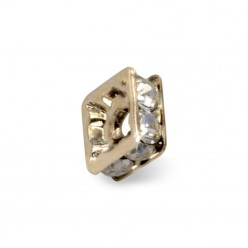 SQUARE WASHER PRECIOSA CRYSTAL-gold, 5 x 4.5-4 PACK 20 PIECES