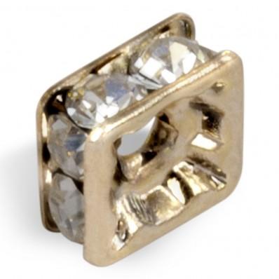 PRECIOSA CRYSTAL-gold WASHER SQUARE MM8x8-box of 20 PIECES sale